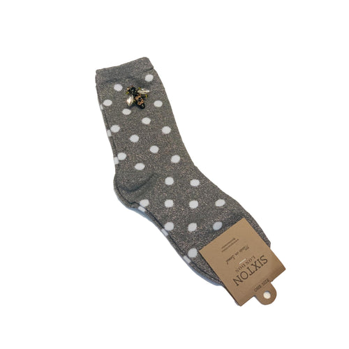 MADRID SOCKS with BEE PIN -Silver