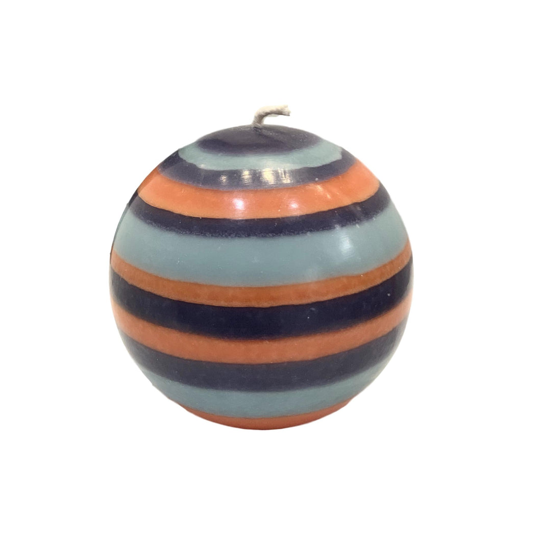 LARGE MARIGOLD, GUNMETAL & OPALINE BALL CANDLE