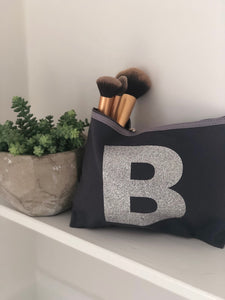 GREY MAKE UP BAG with SILVER GLITTER LETTER