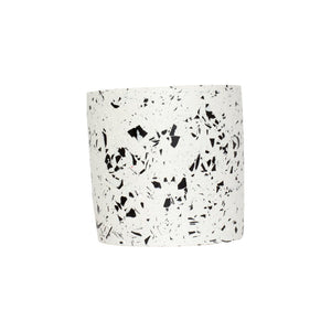 MEDIUM WHITE & BLACK TERRAZZO POT