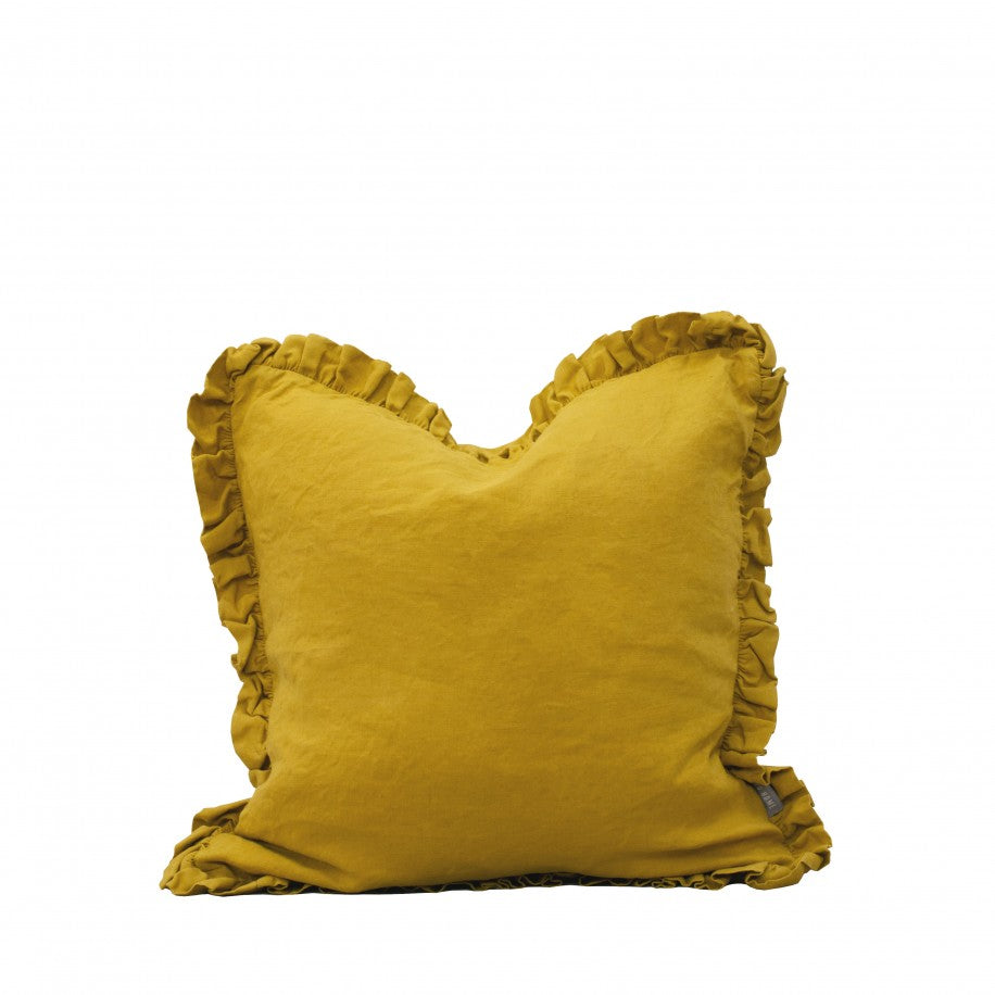 RUFFLE LINEN CUSHION - CITRINE