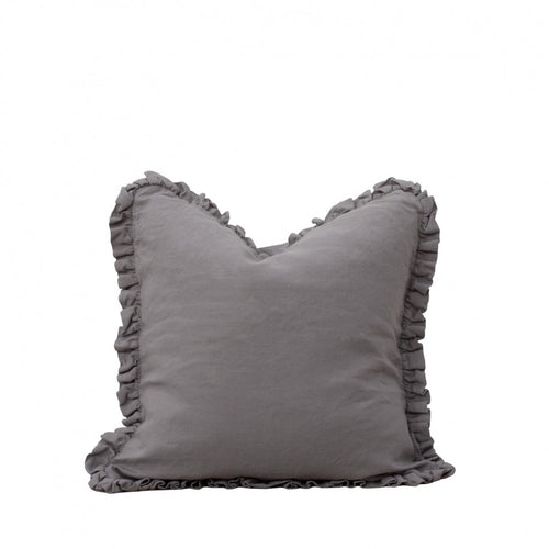 RUFFLE LINEN CUSHION - PEWTER GREY