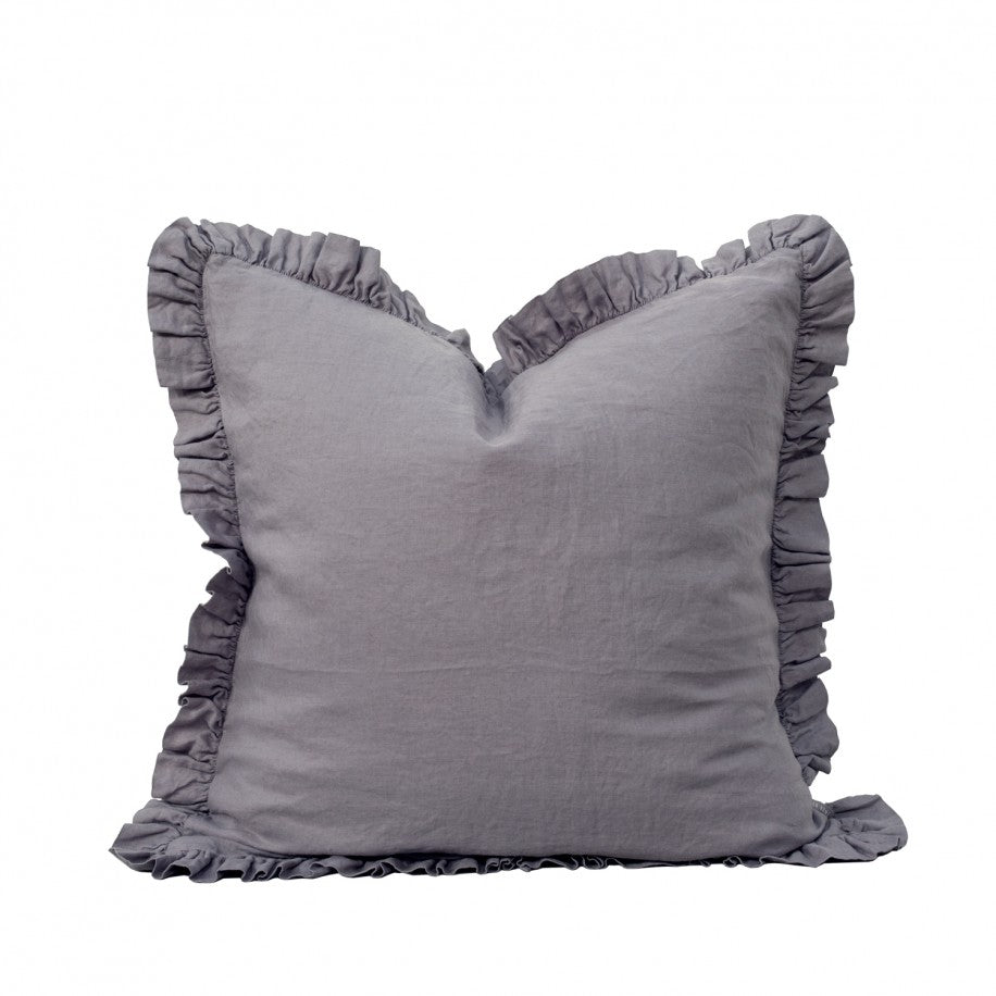 RUFFLE LINEN LARGE CUSHION - PEWTER GREY