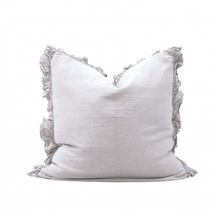 RUFFLE LINEN LARGE CUSHION - SILVER GREY