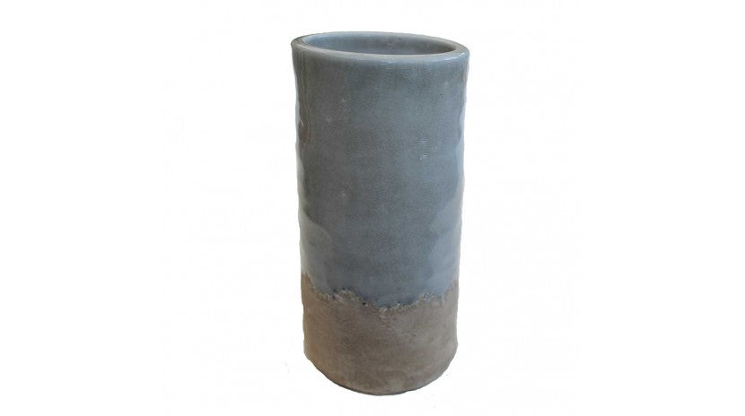 TALL GREY POTTERY VASE