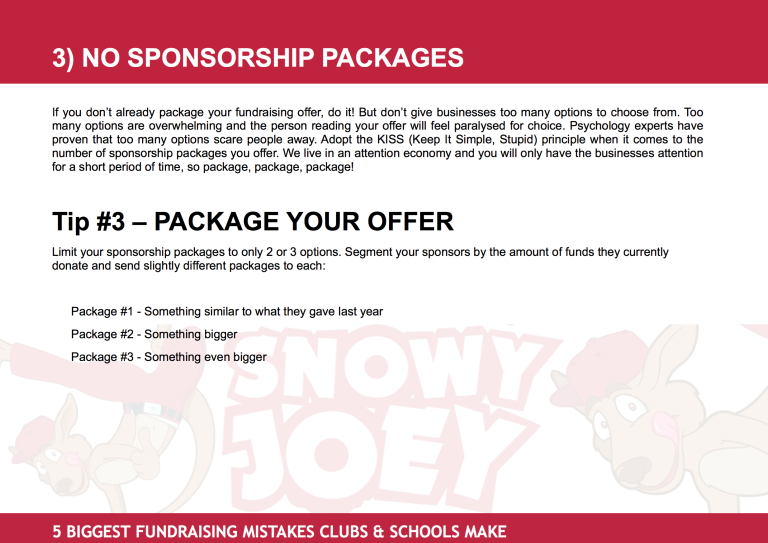 Fundraising Mistake #3: No Sponsorship Packages