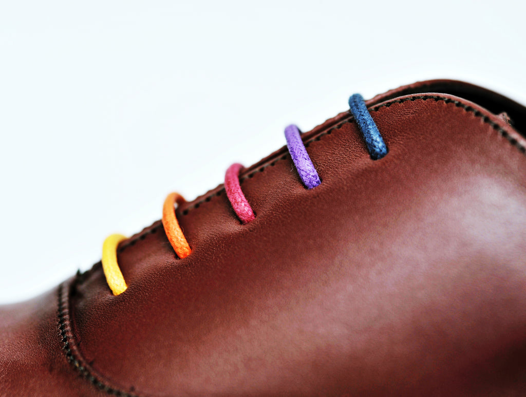 Colourful handmade shoelaces for dress shoes