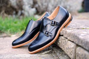 Percy StrideBlack Men's British Leather Monk Footwear