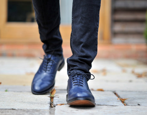 what to wear with Blue dress shoes