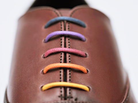 colourful laces, blue, purple, red, orange and yellow in brown men's oxford shoes