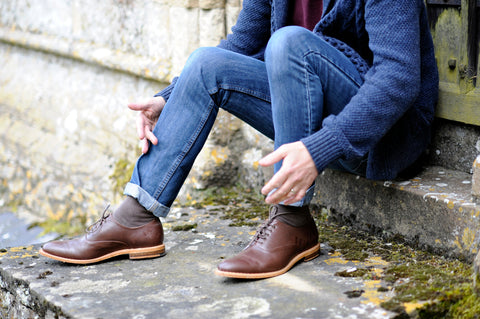 menswear cropped rolled jean trousers with oxford shoes