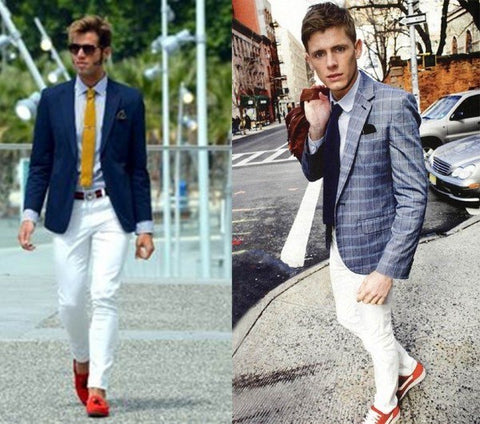 White jeans go with men's red shoes