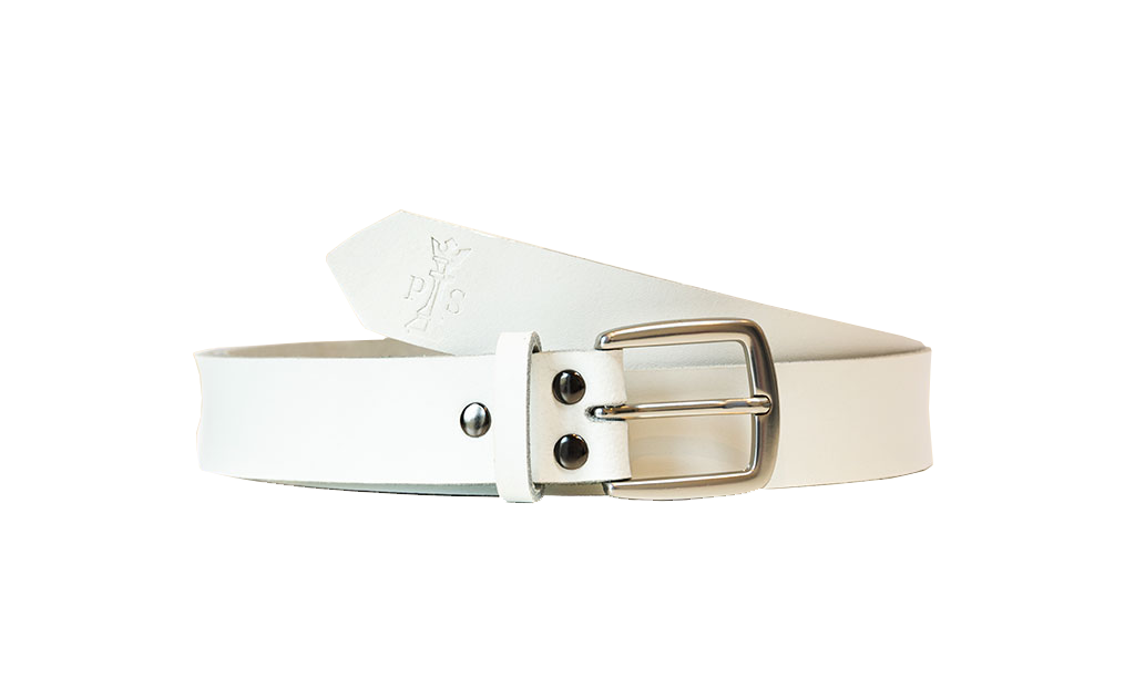 White Leather 30mm Belt