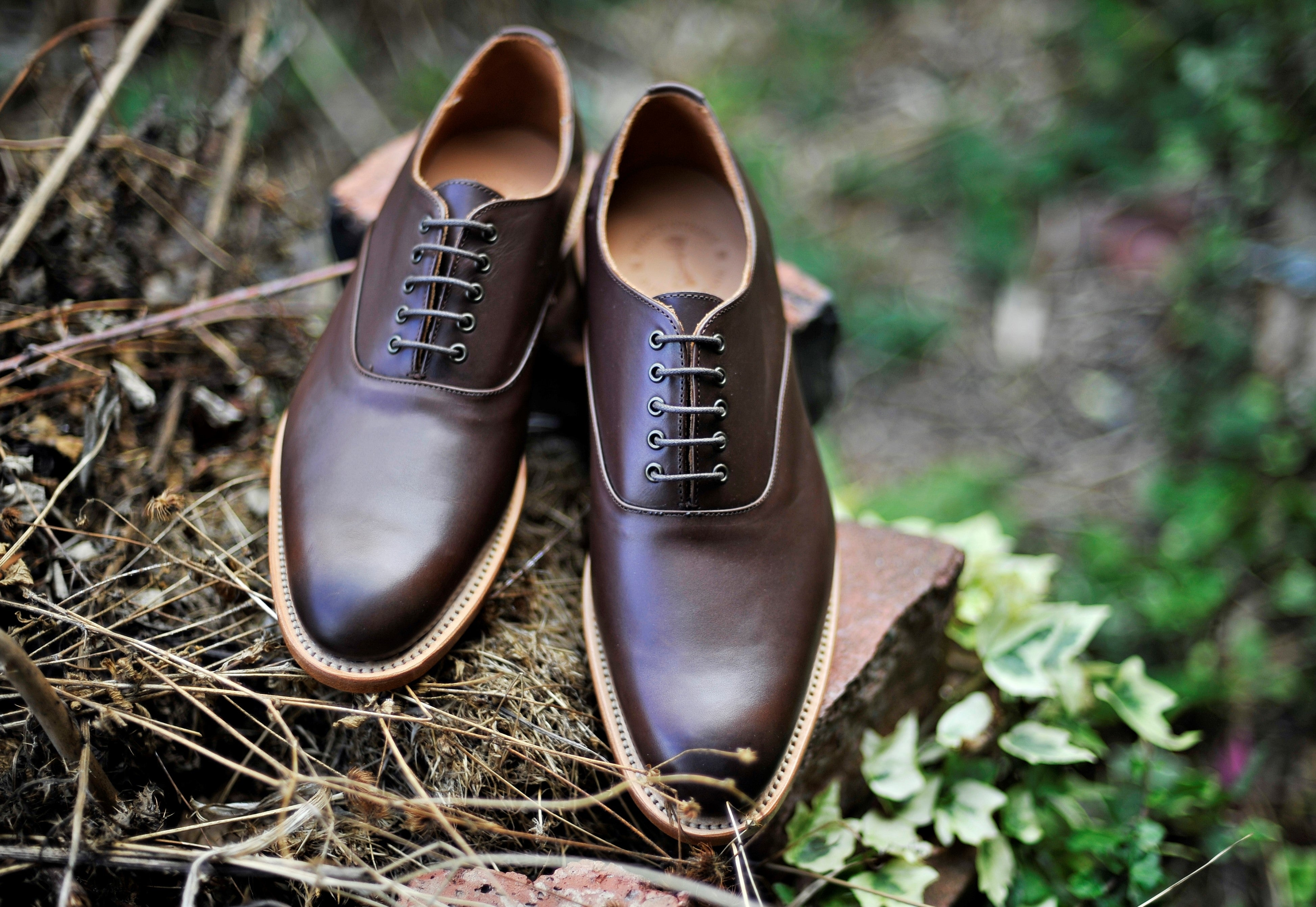 Handmade oxford men's Brown smart shoes