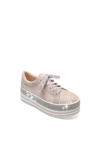 MACKIN J 409-1 Women's Faux Leather Platform Lace Up Sneaker with Faux Diamonds