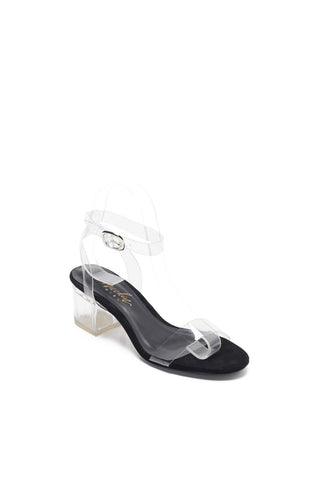 Mackin Girl Sandal G547-1 Transparent TPU Lucite Ankle Strappy Block Chunky High Heel Open Toe Sandals Dress Pump