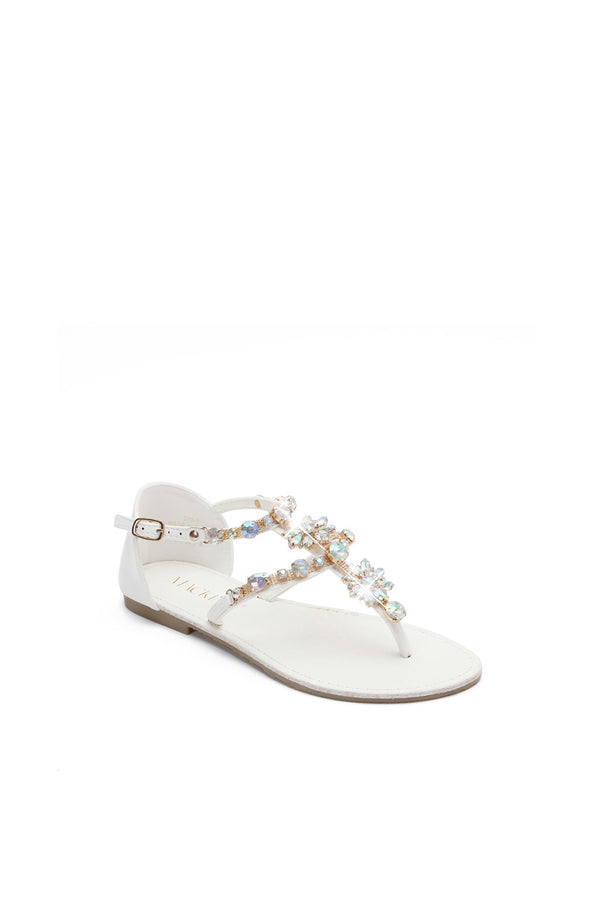 MACKIN J 370-1 Women's Ankle Strap Thong Sandals Flat Thong Sandals With Rhinestone Dress Sandals