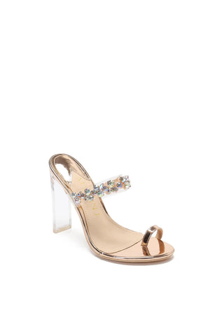 MACKIN J 254-5 Womens Clear Mule Heels Chunky High Heel Rhinestone Sandals Toe Ring Mule Heels