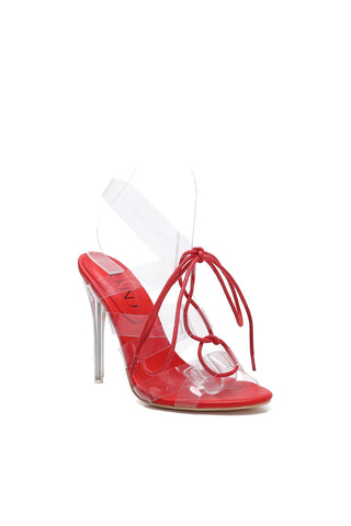 Mackin J 213-85 Women's Lucite Clear Strappy High Heel Sandals Gladiator Open Toe Lace Up Stiletto