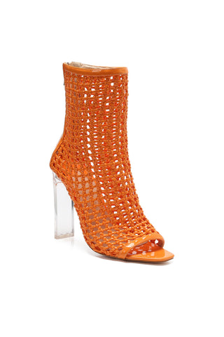 MACKIN J 332-2 Women's Clear Heel Boots Peep Toe Chunky High Heel Dress Sandals