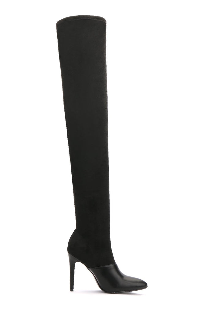 MACKIN J 141G-1 Women's Over The Knee Boot Thigh High Stretchy Pointed Toe Stiletto High Heel Knee Boots with Zipper