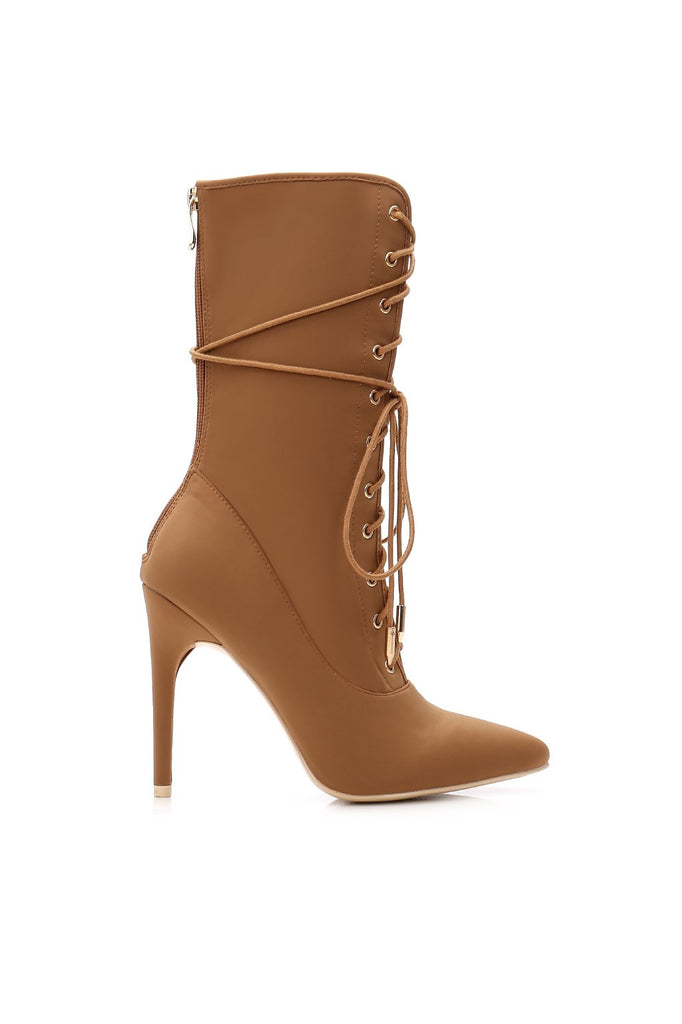 MACKIN J 210-1 Women's High Heel Boots Lace Up Mid Calf Stiletto Booties Pointed Toe Trendy Shoes