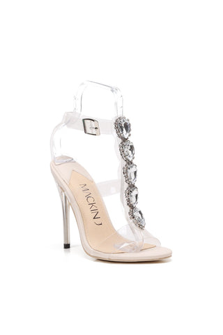 MACKIN J 213-14 Women's Clear Heels Open Toe Stiletto Ankle Strap Rhinestones Gladiator Sandals