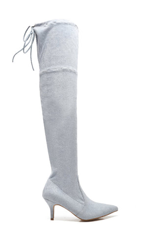 MACKIN J 224-5 Women's Suede Over The Knee Boots Pointed Toe Thigh High Stretchy Knee Booties with Kitten Heel