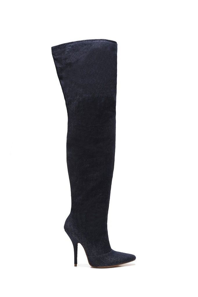 MACKIN J 306-2 Women's Over The Knee Boot Wide Calf Pointed Toe Stiletto Heel Thigh Boots