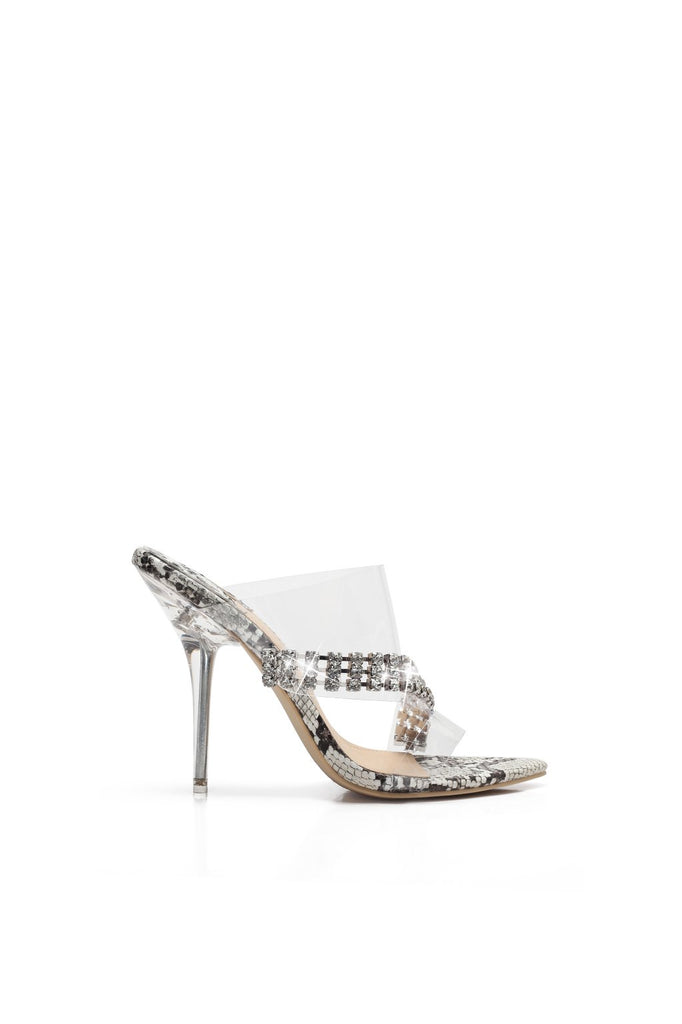 MACKIN J 551-1 Women's Clear Mule Heels Stiletto Heel Mule Open Toe High heel Sandals With Rhinestone