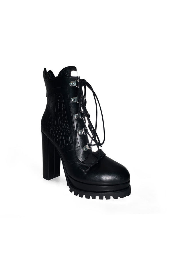 MACKIN J 585-5 Women's Lace Up Ankle Booties Chunky High Heel Boots Platform Boots