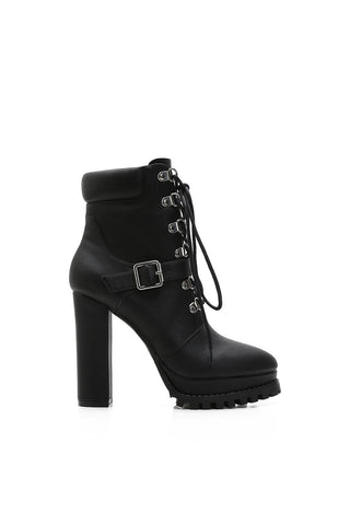 MACKIN J 585-7 Women's Chunky Heels Platform Boots Lace Up Round Toe Zipper Ankle Booties