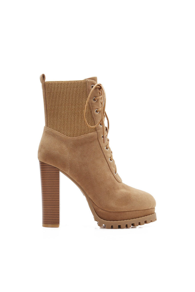 MACKIN J 585-8 Women's High Heel Chunky Ankle Booties Lace Up Platform Boots Stretchy Suede Shoes
