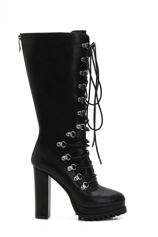 MACKIN J 585-9 Women's Platform Mid Knee High Booties Faux Leather Chunky Heel Boots Lace Up