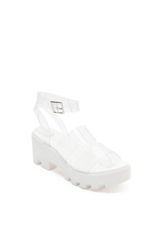 MACKIN J 597-1 Clear Strappy Platform Sandals Open Toe Ankle Strap Platforms