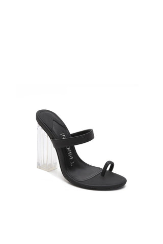 MACKIN J 614-1 Women's Clear Chunky High Heel Dress Sandals Toe Ring Mule Slip On Reflective