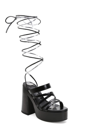 MACKIN J 618-4 Women's Lace Up Gladiator Sandals Platform Chunky Heel Open Toe Strappy Dress Sandals