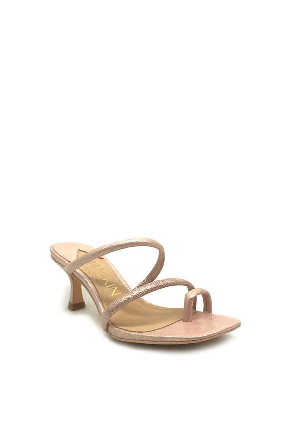 Mackin J 631-2 Kitten Low Heel Sandals Square Toe Ring Slip On Comfy Mule Slide Sandal