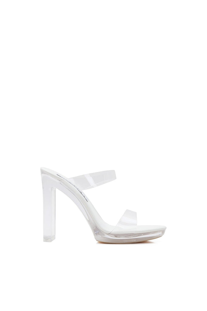 MACKIN J 634-1 Women's Clear Heels Mule Chunky Heel One Band Clear Sandals