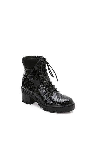 MACKIN J 640-2 Women's Chunky Heel Combat Boots Lace Up Platform Ankle Boots