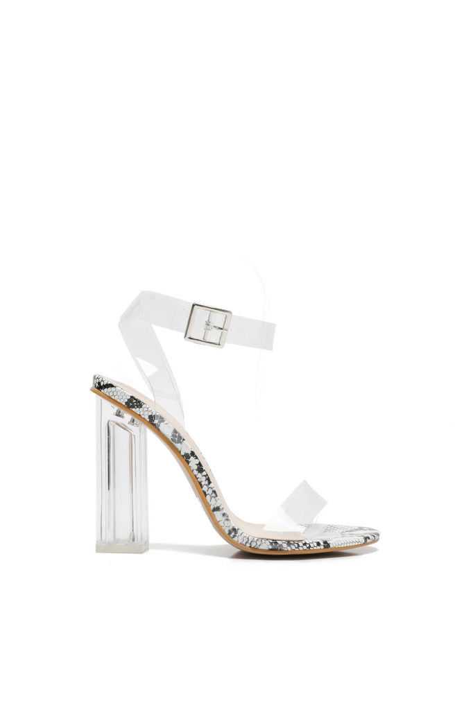 MACKIN J G349-1 Transparent Open Toe Ankle Strappy Block Chunky Heel Sandals with TPU Clear Plastic