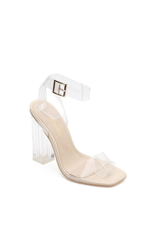 MACKIN J G349-1 Transparent Square Toe Ankle Strappy Block Chunky Heel Sandals with TPU Clear Plastic