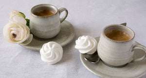 espresso cups, pottery, white ceramic, coffee set, kitchenware, cafe,