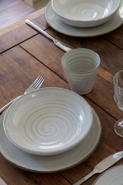Pottery Dinnerware, 1 Place Setting, Main Course Plate and a Pasta Bowl