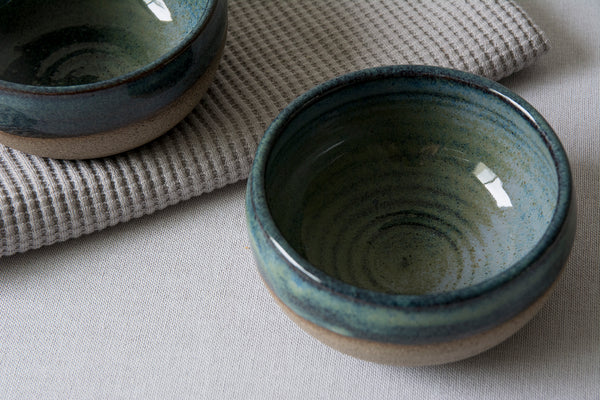 Mini Blue-Green Pottery Serving Bowls