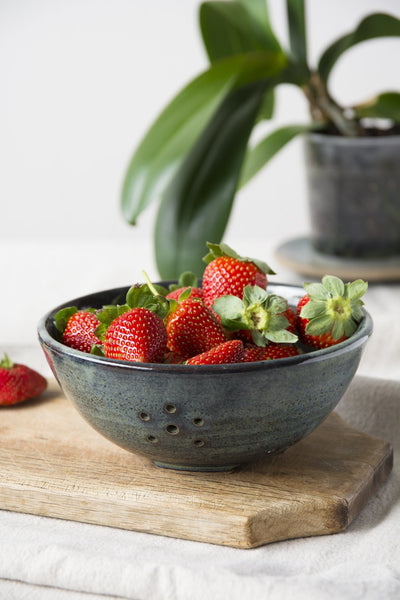 Blue Berry Bowl - Mad About Pottery- colander