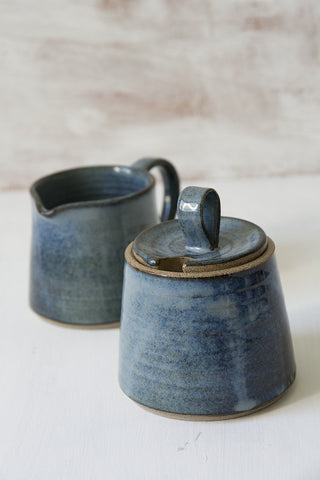 Blue Ceramic Creamer and Sugar Set - Mad About Pottery - Sugar Bowl set