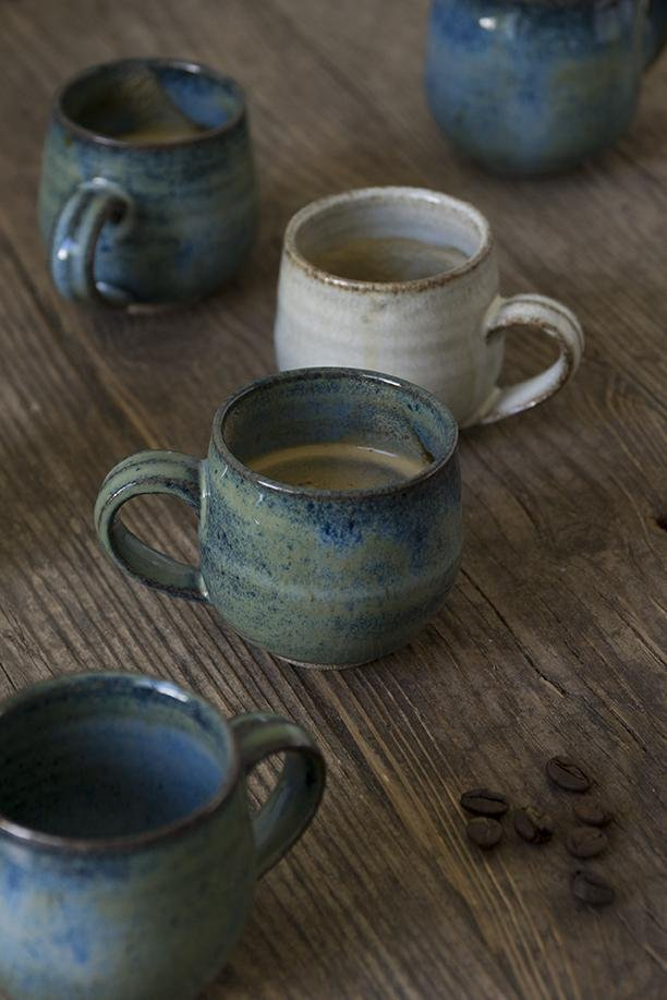 Blue Ceramic Espresso Cups - Mad About Pottery - cup