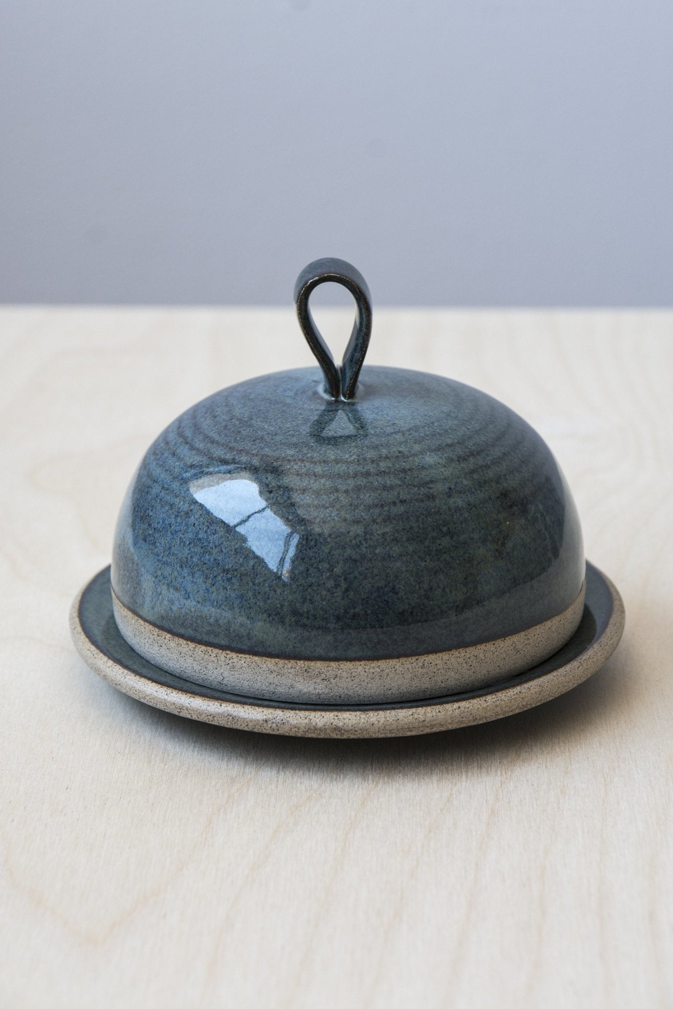 Blue Ceramic Round Butter Dish - Mad About Pottery - Buttery Dish