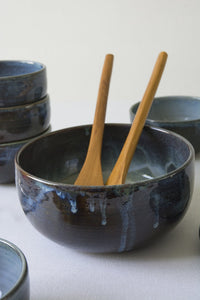Blue Ceramic Salad Bowl - Mad About Pottery - Bowl